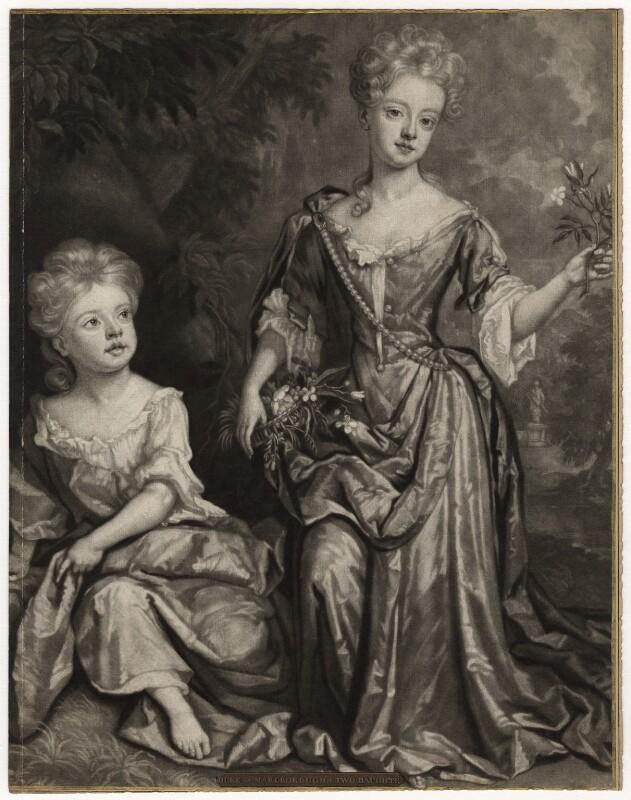 Countess of Sunderland and Duchess of Marlborough, by John Smith, after  Sir Godfrey Kneller, Bt, 1688 (1688) - NPG D3673 - © National Portrait Gallery, London