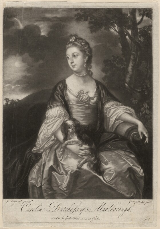 Lady Caroline Spencer (née Russell), Duchess of Marlborough, by and sold by James Macardell, after  Sir Joshua Reynolds, early 1760s (circa 1759-1762) - NPG D3678 - © National Portrait Gallery, London
