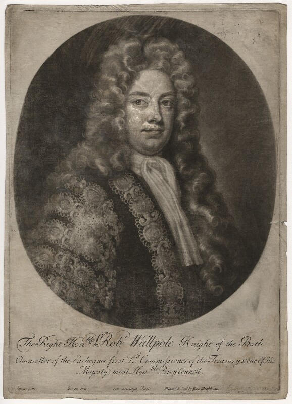 Robert Walpole, 1st Earl of Orford, by John Simon, after  Charles Jervas, circa 1725 - NPG D3761 - © National Portrait Gallery, London