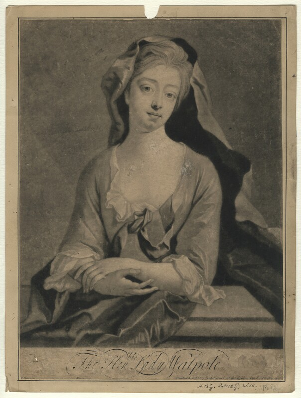 Catherine Walpole (née Shorter), Lady Walpole, by John Simon, printed and sold by  Robert Sayer, after  Michael Dahl, published circa 1748-1760 - NPG D3770 - © National Portrait Gallery, London