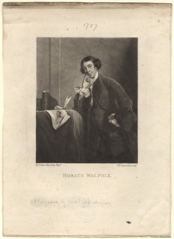Horace Walpole, by Samuel William Reynolds, after  Sir Joshua Reynolds, published 1820 - NPG D3771 - © National Portrait Gallery, London