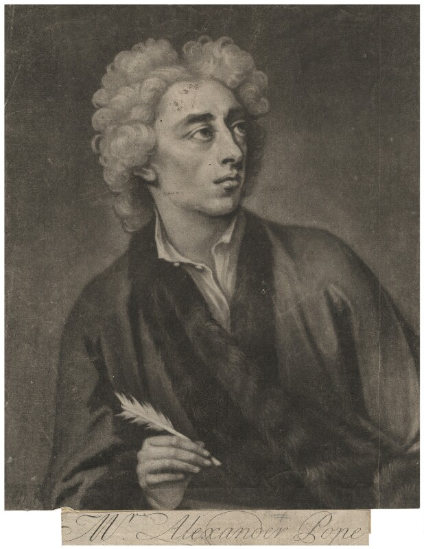 Alexander Pope, by John Simon, after  Michael Dahl, 1728 (1727) - NPG D3934 - © National Portrait Gallery, London