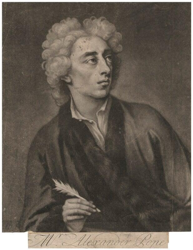 Alexander Pope, by John Simon, after  Michael Dahl, 1728 (1727) - NPG D3934 - © National Portrait Gallery, London