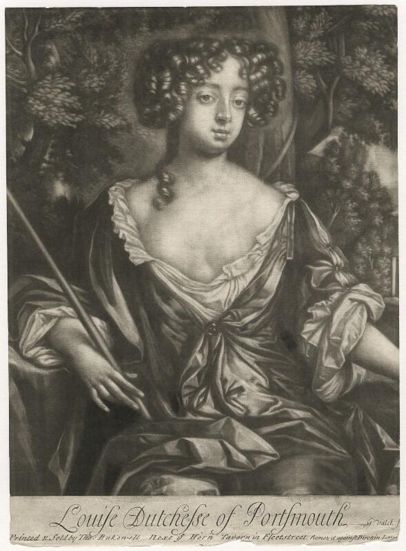 Louise de Kéroualle, Duchess of Portsmouth, by Gerard Valck, after  Sir Peter Lely, 1678 - NPG D3937 - © National Portrait Gallery, London