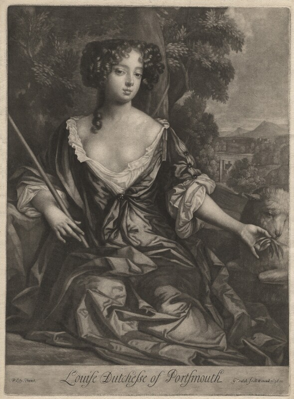 Louise de Kéroualle, Duchess of Portsmouth, by Gerard Valck, after  Sir Peter Lely, 1678 - NPG D3938 - © National Portrait Gallery, London