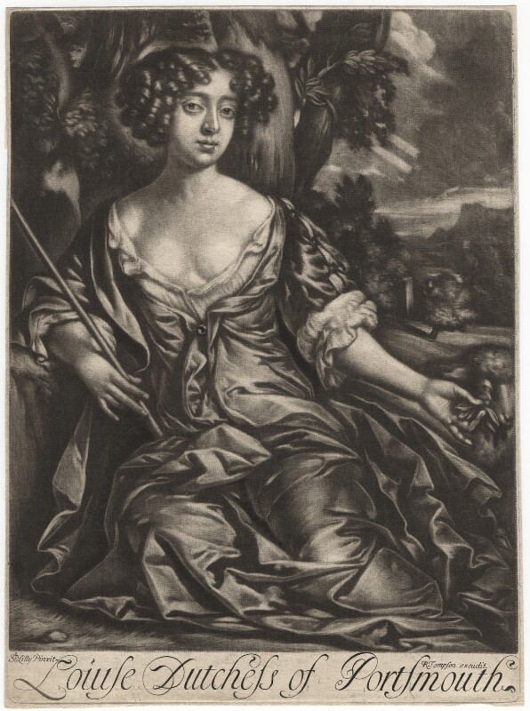 Louise de Kéroualle, Duchess of Portsmouth, published by Richard Tompson, after  Sir Peter Lely, 1678-1679 (circa 1671) - NPG D3939 - © National Portrait Gallery, London