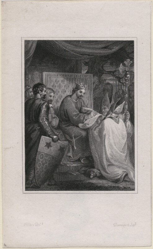 King John signing the Magna Carta, by Davenport, after  Hilton, mid 19th century - NPG D4068 - © National Portrait Gallery, London