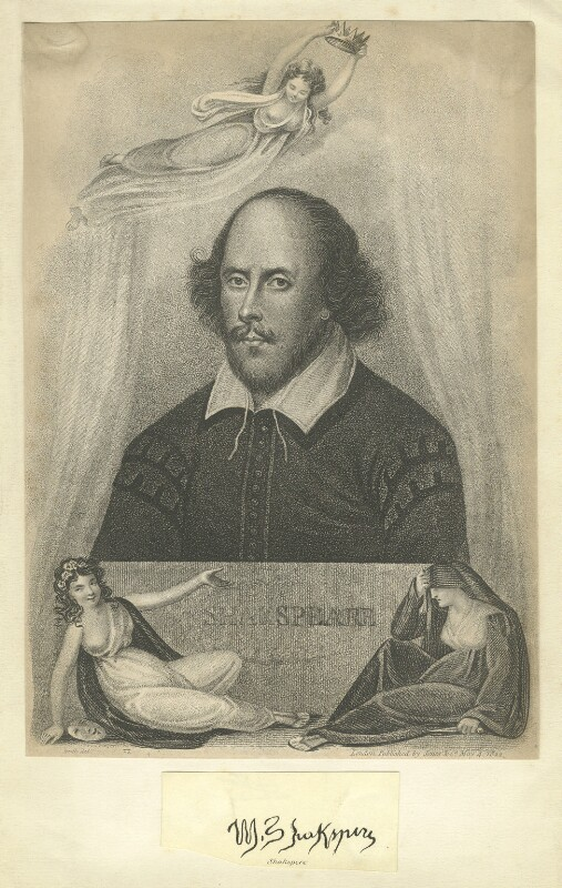 William Shakespeare, by James Heath, published by  Jones & Co, probably after  John Taylor, published 1822 - NPG D4071 - © National Portrait Gallery, London