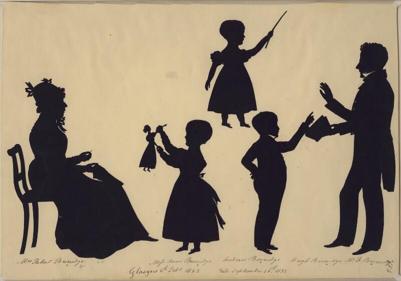 Mrs Robert Beveridge; Anne Beveridge; Andrew Beveridge; Hugh Beveridge; Robert Beveridge, by Augustin Edouart, 6 February 1832 - NPG D413 - © National Portrait Gallery, London