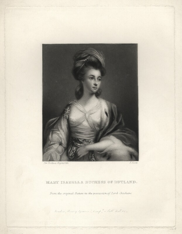 Mary Isabella Manners (née Somerset), Duchess of Rutland, by James Scott, published by  Henry Graves & Co, after  Sir Joshua Reynolds, published 1864 (1782-1784) - NPG D4143 - © National Portrait Gallery, London