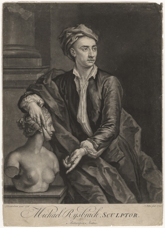 John Michael Rysbrack, by John Faber Jr, after  John Vanderbank, 1734 (1728) - NPG D4144 - © National Portrait Gallery, London