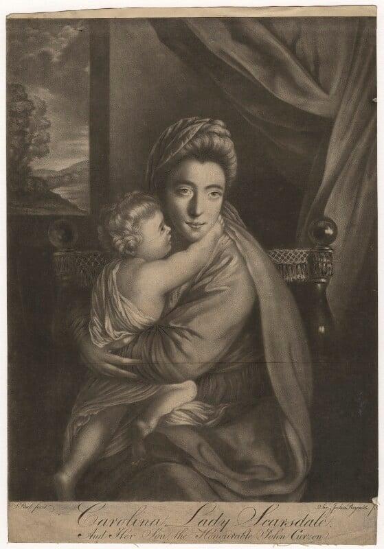 'Caroline Curzon (née Colyear), Lady Scarsdale with her son the Honourable John Curzon' (John Curzon; Caroline Curzon (née Colyear), Lady Scarsdale), by P. or S. Paul (Samuel de Wilde?), after  Sir Joshua Reynolds, 1770s (1760) - NPG D4166 - © National Portrait Gallery, London