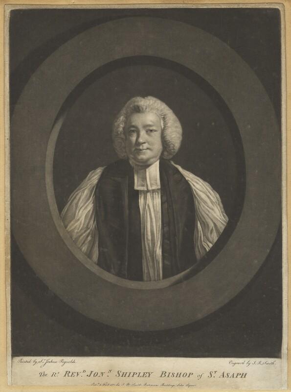 Jonathan Shipley, by John Raphael Smith, after  Sir Joshua Reynolds, published 1777 - NPG D4221 - © National Portrait Gallery, London