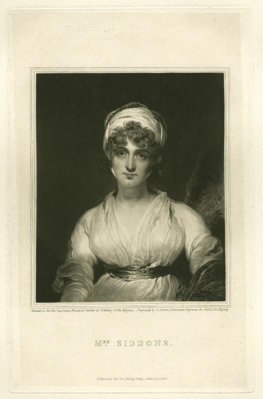 Sarah Siddons (née Kemble), by Charles Turner, published by  Henry Colburn, after  Sir Thomas Lawrence, published 20 November 1826 (1797) - NPG D4231 - © National Portrait Gallery, London