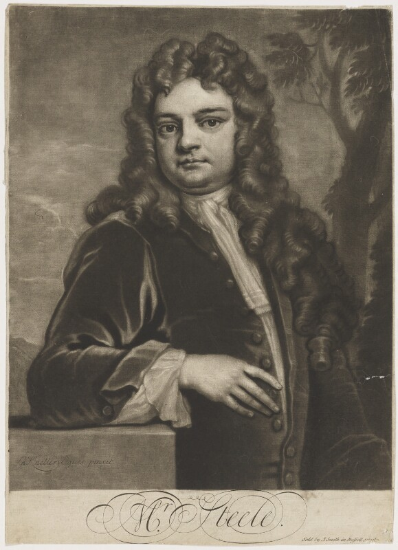 Sir Richard Steele, by John Simon, sold by  John Smith, after  Sir Godfrey Kneller, Bt, 1712-1713 (1711) - NPG D4297 - © National Portrait Gallery, London