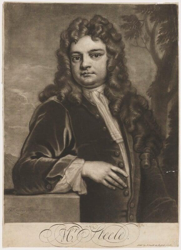 Sir Richard Steele, by John Simon, sold by  John Smith, after  Sir Godfrey Kneller, Bt, 1712-1713 (1711) - NPG D4297 - © National Portrait Gallery, London