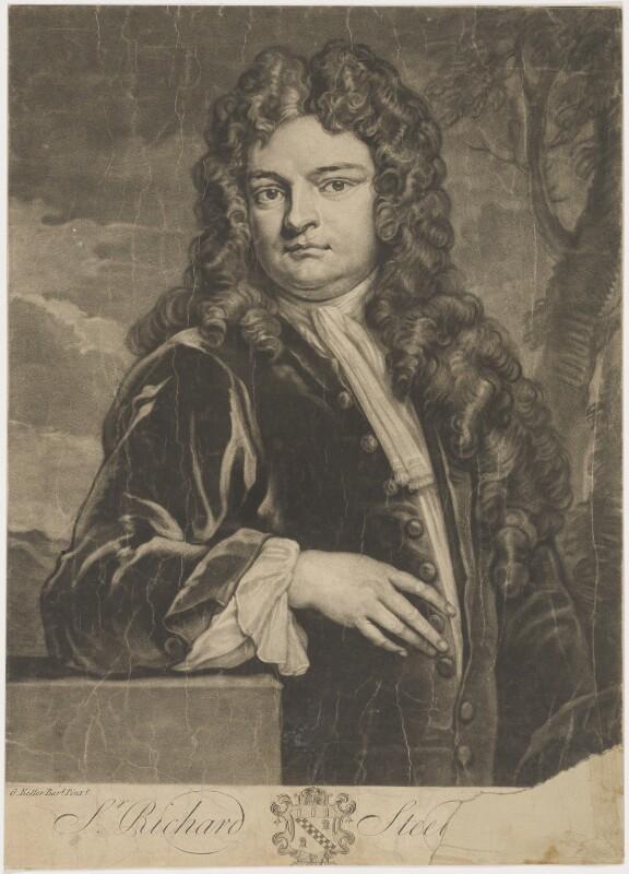 Sir Richard Steele, by John Faber Jr, after  Sir Godfrey Kneller, Bt, 1733 (1711) - NPG D4298 - © National Portrait Gallery, London