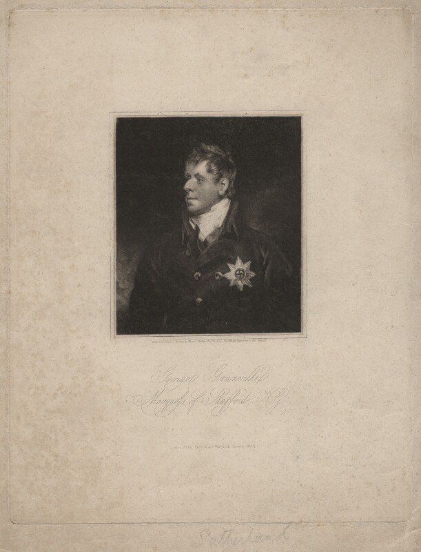 George Granville Leveson-Gower, 1st Duke of Sutherland, by John Young, after  Thomas Phillips, published 1834 - NPG D4331 - © National Portrait Gallery, London