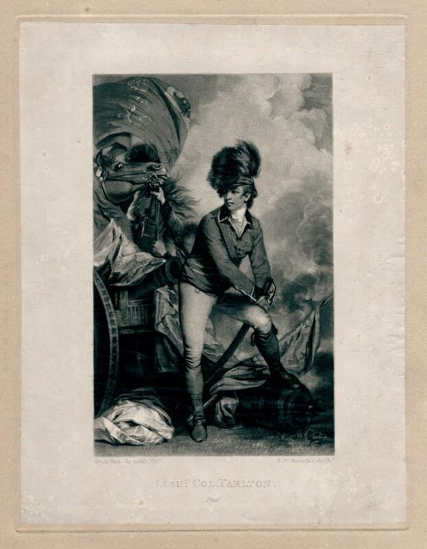 Sir Banastre Tarleton, Bt, by Samuel William Reynolds, after  Sir Joshua Reynolds, published 1820 or after (1782) - NPG D4350 - © National Portrait Gallery, London