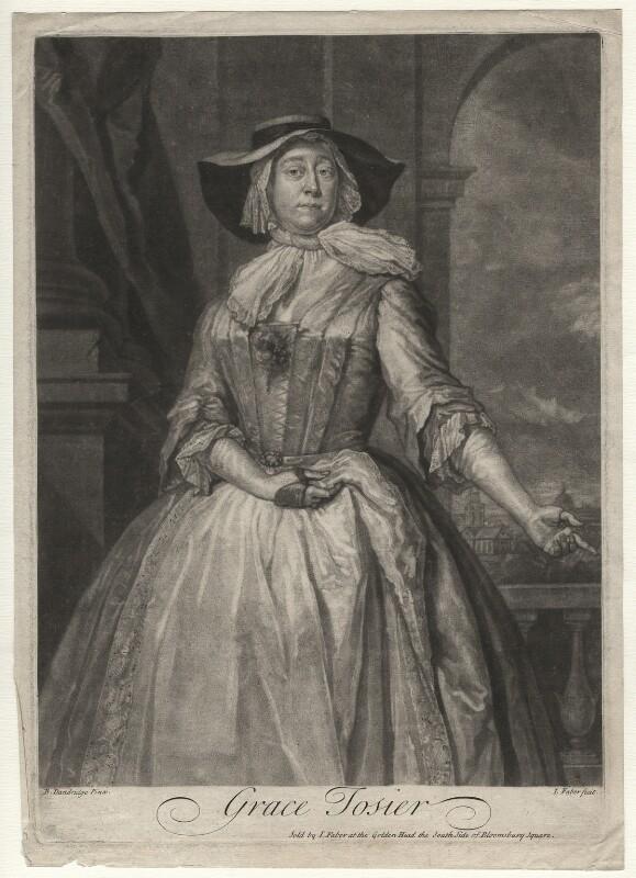 Grace Tosier, by and published by John Faber Jr, after  Bartholomew Dandridge, 1729 (1728) - NPG D4378 - © National Portrait Gallery, London
