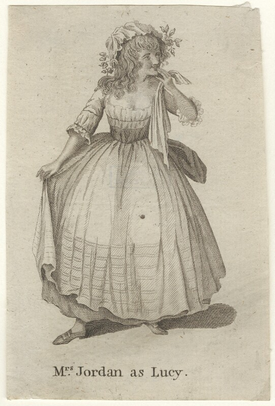 Dorothy Jordan as Lucy in 'The Virgin Unmasked', by Unknown artist, published 1787 - NPG D4418 - © National Portrait Gallery, London
