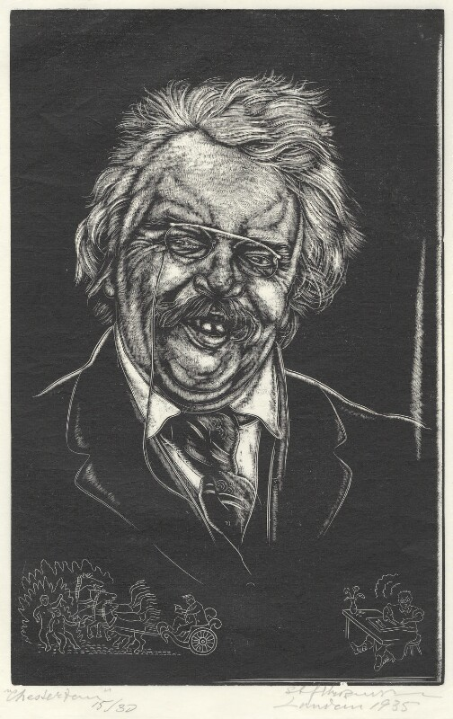 G.K. Chesterton, by Stefan Mrozewski, 1935 - NPG D4437 - © National Portrait Gallery, London