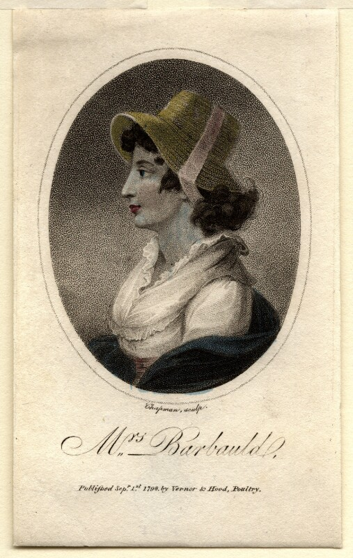Anna Letitia Barbauld (née Aikin), by John Chapman, after  Unknown artist, published 1798 - NPG D4457 - © National Portrait Gallery, London