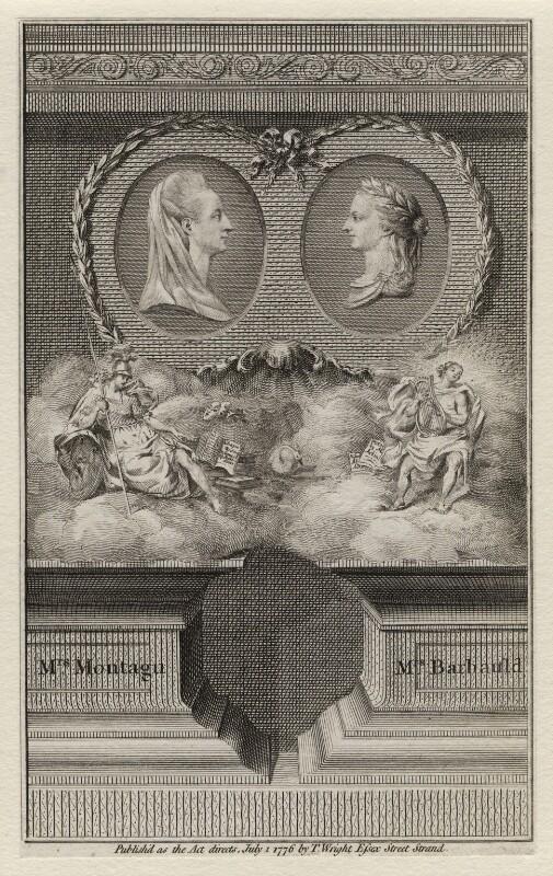 Elizabeth Montagu (née Robinson); Anna Letitia Barbauld (née Aikin), after Thomas Holloway, published 1 July 1776 - NPG D4458 - © National Portrait Gallery, London
