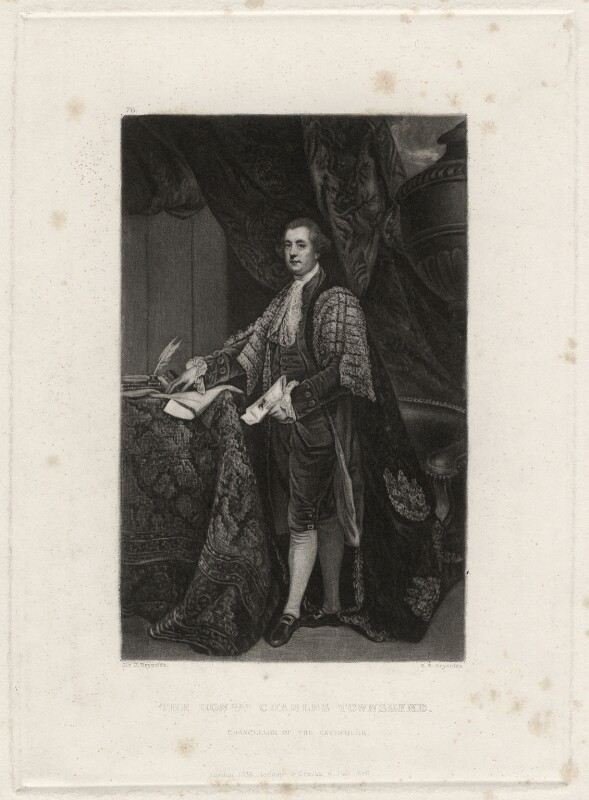 Charles Townshend, by Samuel William Reynolds, after  Sir Joshua Reynolds, 1836 - NPG D4490 - © National Portrait Gallery, London