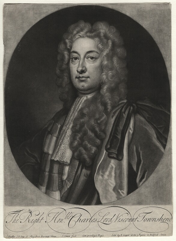 Charles Townshend, 2nd Viscount Townshend, by John Simon, published by  Edward Cooper, after  Sir Godfrey Kneller, Bt, early 18th century - NPG D4492 - © National Portrait Gallery, London