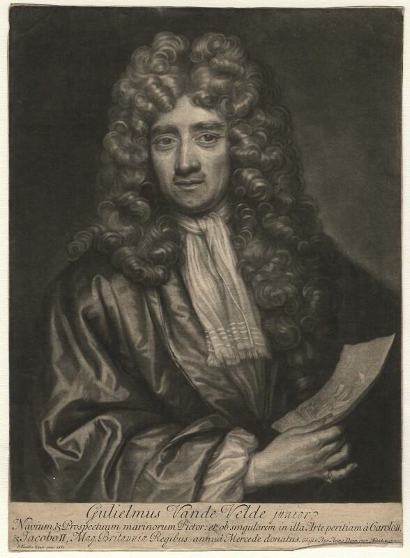 William van de Velde the Younger, by John Smith, after  Sir Godfrey Kneller, Bt, 1707 (1680) - NPG D4555 - © National Portrait Gallery, London