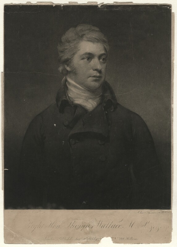 Thomas Wallace, Baron Wallace, by Charles Turner, published by  Robert Cribb, after  Theophilus Clarke, published 20 August 1801 - NPG D4609 - © National Portrait Gallery, London