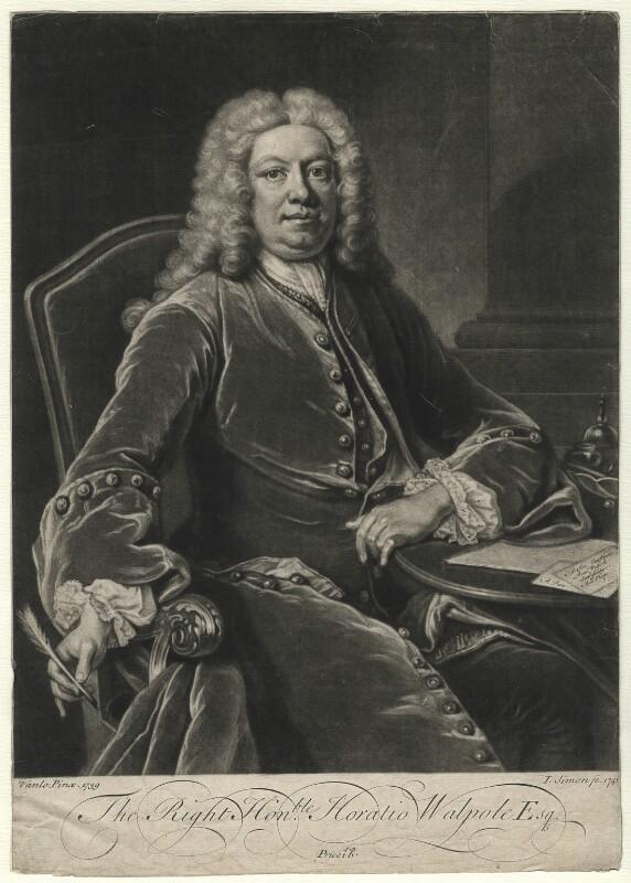 Horatio Walpole, 1st Baron Walpole of Wolterton, by John Simon, after  Jean Baptiste van Loo, 1741 (1739) - NPG D4617 - © National Portrait Gallery, London