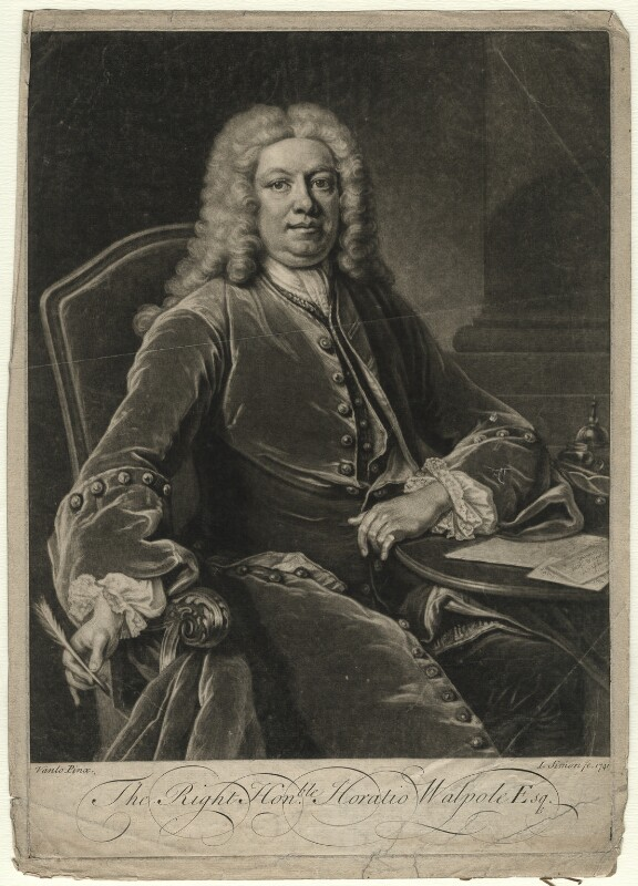 Horatio Walpole, 1st Baron Walpole of Wolterton, by John Simon, after  Jean Baptiste van Loo, 1741 (1739) - NPG D4618 - © National Portrait Gallery, London