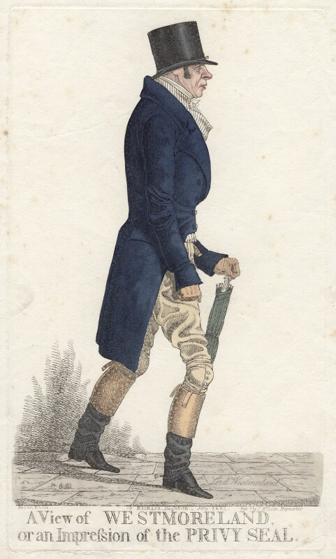 John Fane, 10th Earl of Westmorland ('A view of Westmoreland, or an impression of the Privy Seal'), by and published by Richard Dighton, reissued by  Thomas McLean, published July 1821 - NPG D4752 - © National Portrait Gallery, London