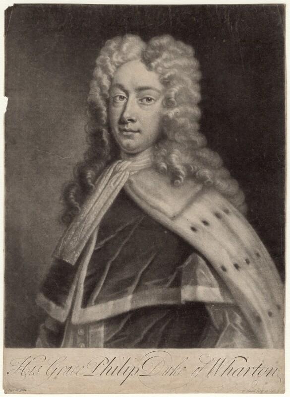 Philip Wharton, Duke of Wharton, by John Simon, after  Charles Jervas, early 18th century - NPG D4760 - © National Portrait Gallery, London