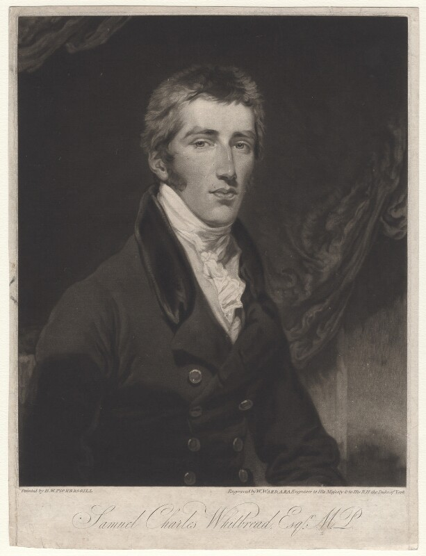 Samuel Charles Whitbread, by William Ward, after  Henry William Pickersgill, published 1820 - NPG D4766 - © National Portrait Gallery, London