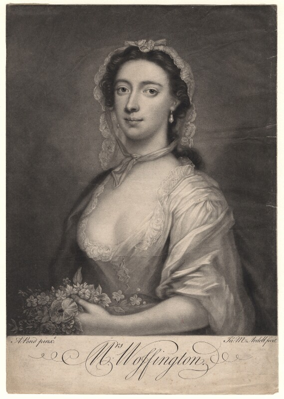 Peg Woffington, by James Macardell, after  Arthur Pond, circa 1750-1765 - NPG D4878 - © National Portrait Gallery, London