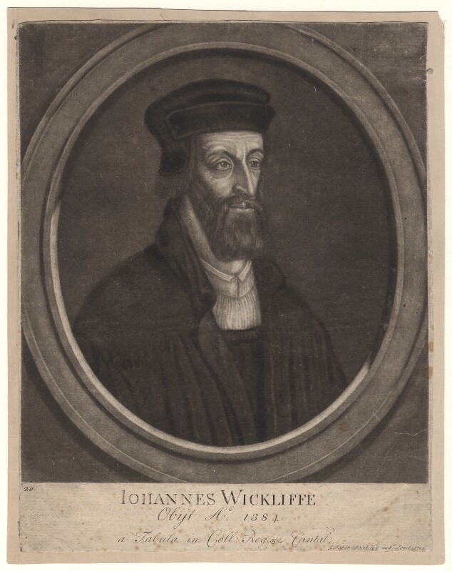 Fictitious portrait called John Wyclif, by and published by John Faber Sr, 1714 - NPG D4918 - © National Portrait Gallery, London
