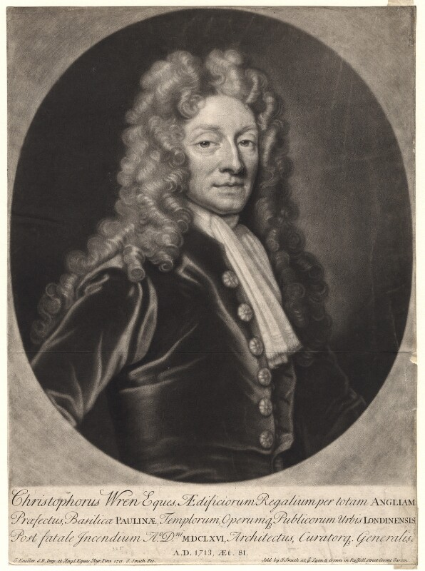 Sir Christopher Wren, by and published by John Smith, after  Sir Godfrey Kneller, Bt, 1713 (1711) - NPG D4924 - © National Portrait Gallery, London