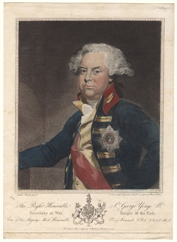 Sir George Yonge, 5th Bt, by Edmund Scott, published by  Samuel William Fores, after  Mather Brown, published 1 May 1790 - NPG D4960 - © National Portrait Gallery, London