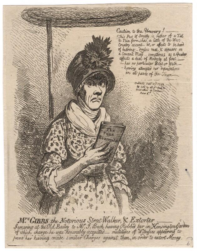 Jane Gibbs ('Mrs Gibbs the notorious street-walker, and extorter'), by James Gillray, published 23 September 1799 - NPG D4968 - © National Portrait Gallery, London