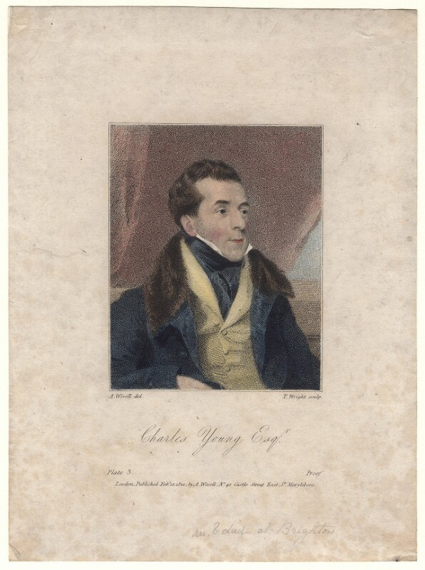 Charles Mayne Young, by Thomas Wright, published by and after  Abraham Wivell, published 1822 - NPG D4992 - © National Portrait Gallery, London