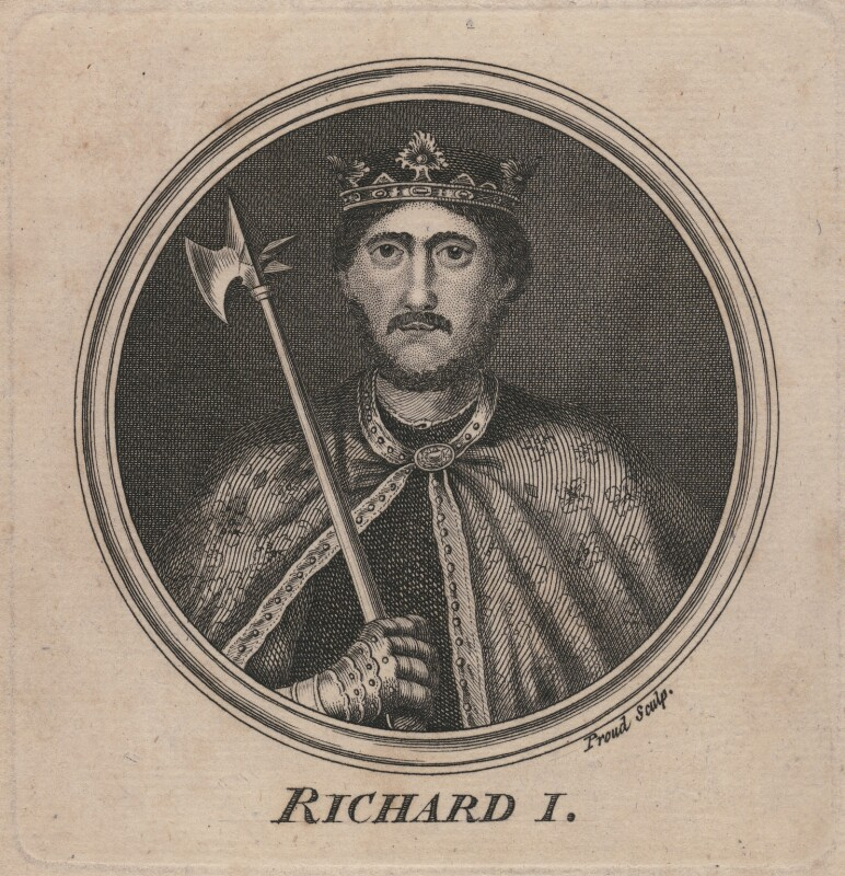 King Richard I ('the Lionheart'), by Proud, after  Unknown artist, 1757 - NPG D5011 - © National Portrait Gallery, London