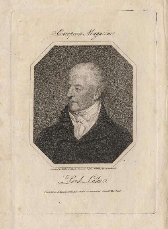 Gerard Lake, 1st Viscount Lake, by Ridley & Blood, published by  James Asperne, after  Samuel Drummond, published 1 May 1808 - NPG D5003 - © National Portrait Gallery, London
