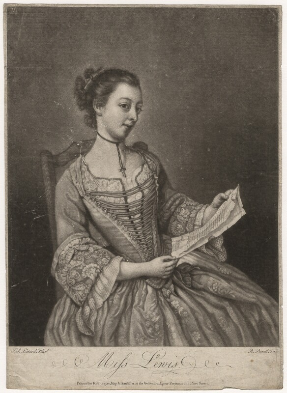 Probably Susanna Campbell (née Lewis), by Richard Purcell (H. Fowler, Charles or Philip Corbutt), after  Jean Etienne Liotard, mid 18th century - NPG D5075 - © National Portrait Gallery, London
