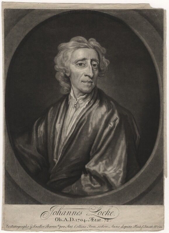 John Locke, by John Smith, after  Sir Godfrey Kneller, Bt, 1721 - NPG D5098 - © National Portrait Gallery, London