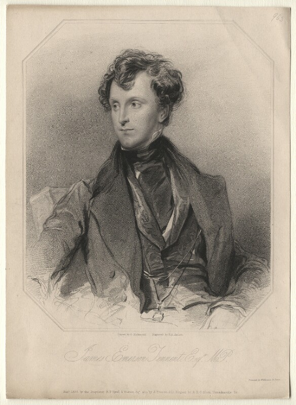 Sir James Emerson Tennent, 1st Bt, by Richard Austin Artlett, after  George Richmond, published 1836 - NPG D5115 - © National Portrait Gallery, London
