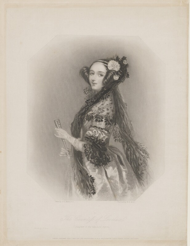 Ada Lovelace, by William Henry Mote, after  Alfred Edward Chalon, published 1839 - NPG D5123 - © National Portrait Gallery, London