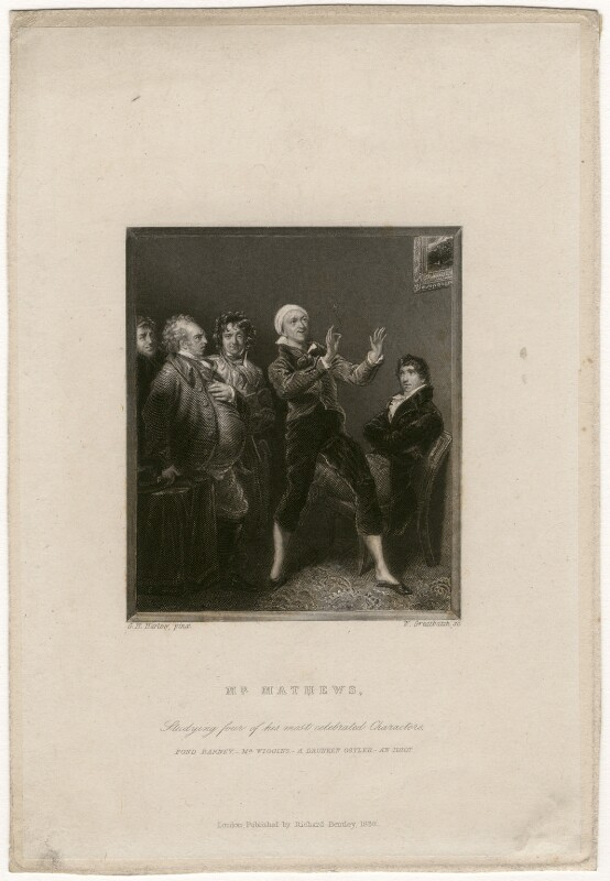 Charles Mathews ('Studying four of his most celebrated Characters'), by William Greatbach, published by  Richard Bentley, after  George Henry Harlow, published 1838 - NPG D5227 - © National Portrait Gallery, London